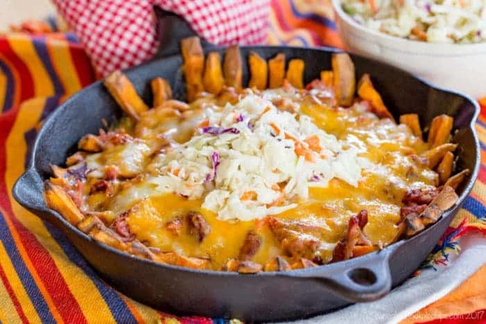 Make BBQ Pulled Pork Loaded Baked Sweet Potato Fries for the ultimate tailgate food!