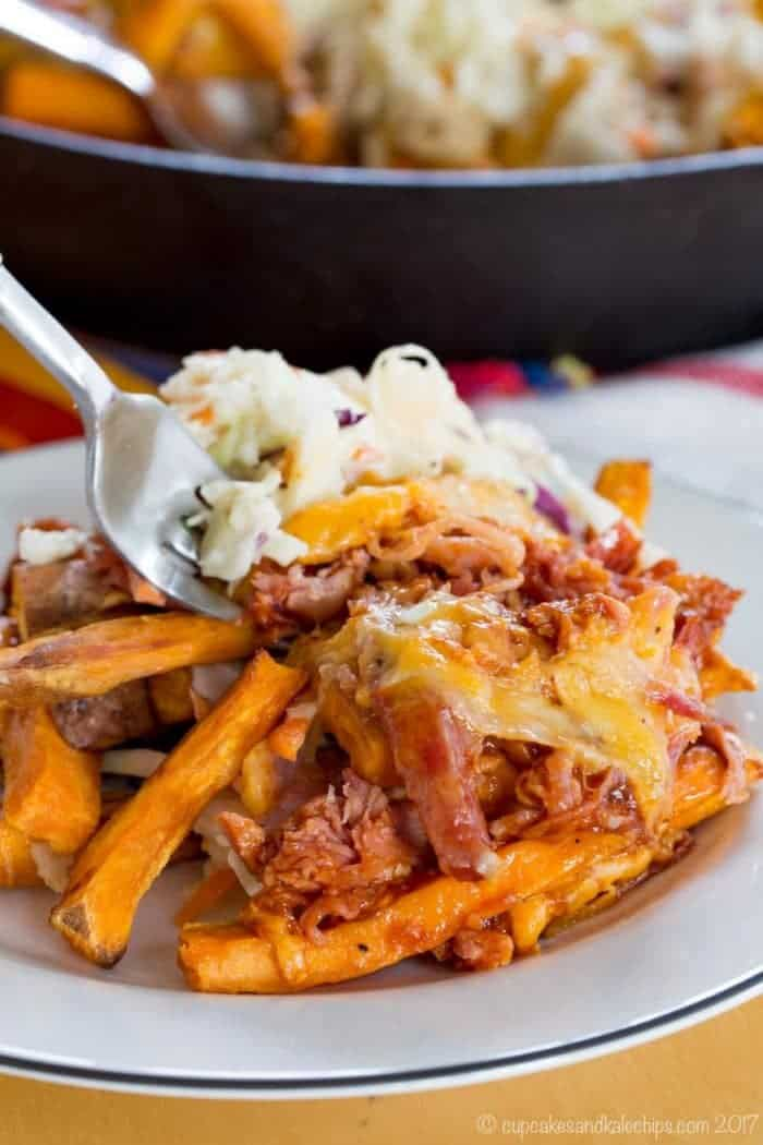 A plate of Barbecue Pulled Pork Loaded Sweet Potato Fries