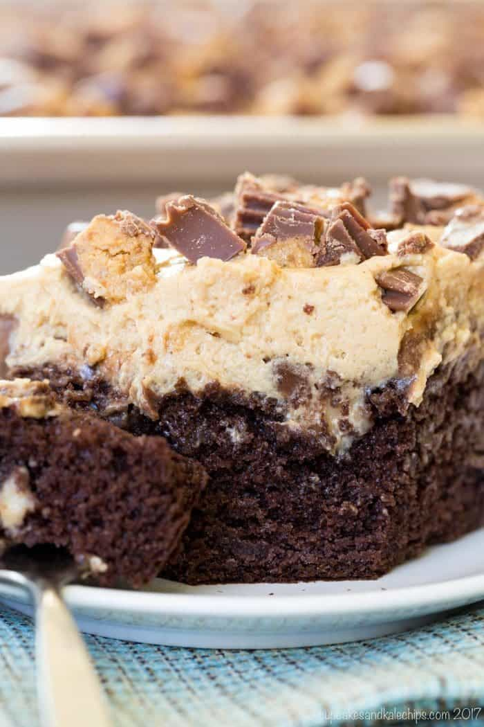 Reese's Poke Cake - one of the Top 17 Most Popular Recipes of 2017 from Cupcakes & Kale Chips