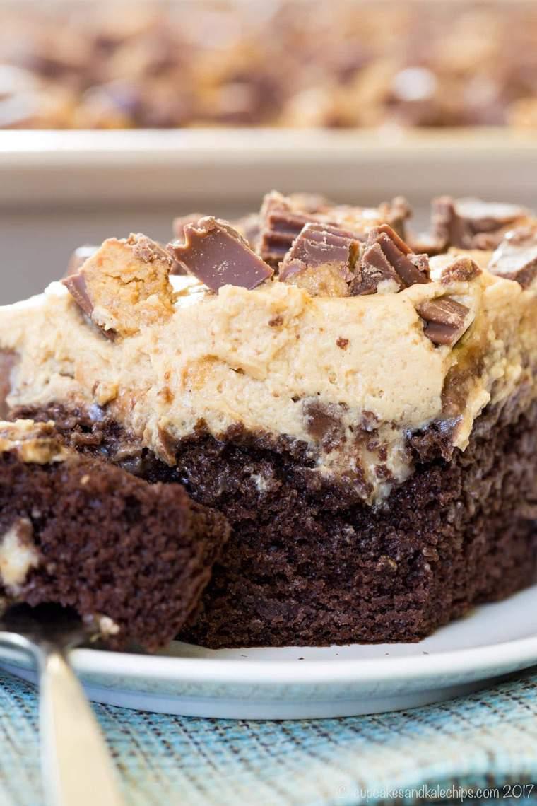 Closeup of Peanut Butter Cup Poke Cake dessert