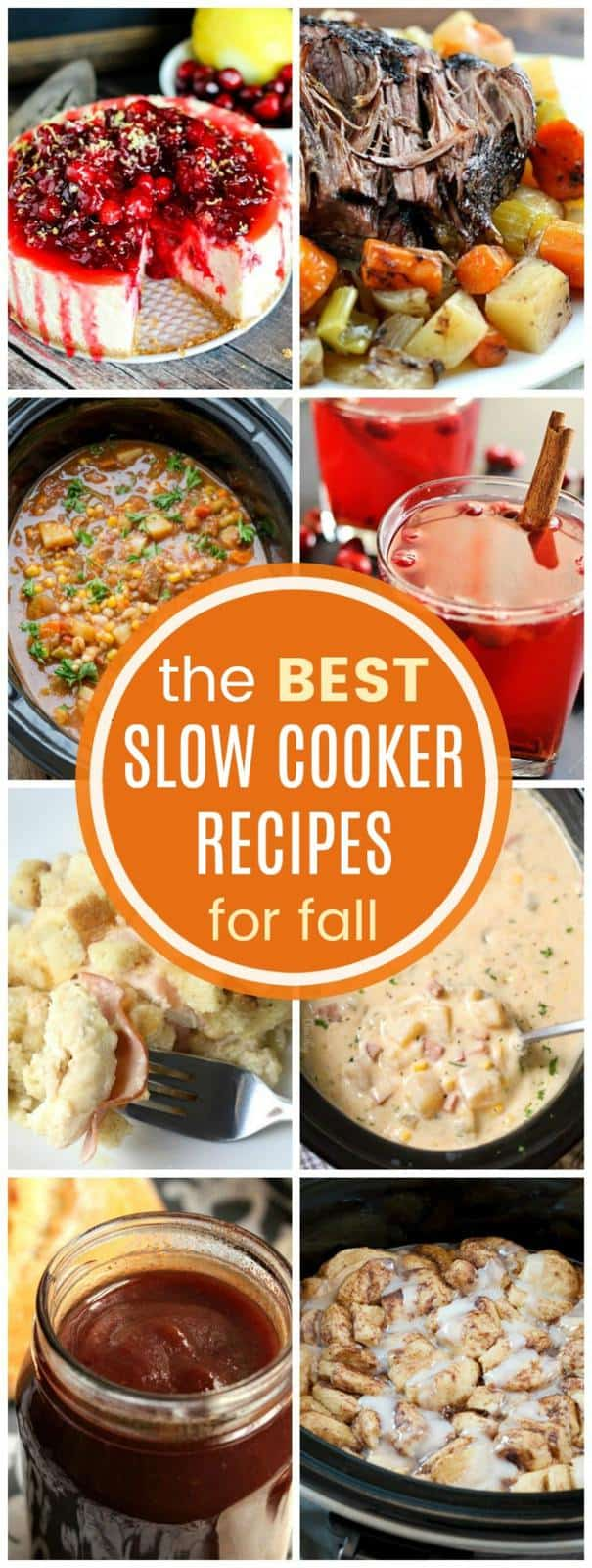The Best Slow Cooker Recipes for Fall with over 25 comfort food recipes from you crock pot for appetizers, dinner, dessert, and drinks. #slowcooker #slowcookerrecipe #crockpot