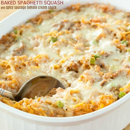 Baked Spaghetti Squash Casserole with Spicy Sausage Tomato Cream Sauce