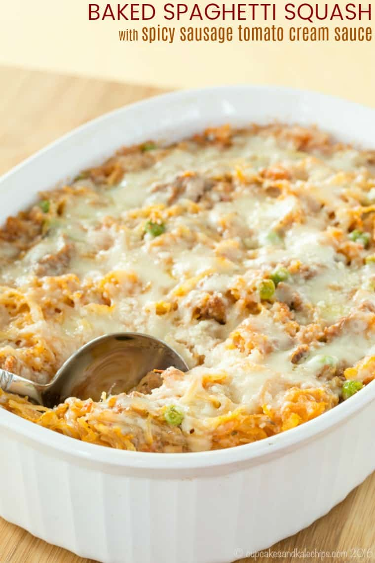 Baked Spaghetti Squash Recipe with Spicy Sausage Tomato Cream Sauce
