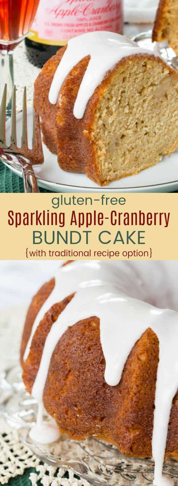 Gluten-Free Sparkling Apple-Cranberry Bundt Cake - a simple, elegant holiday dessert recipe that is infused with @martinellisco Sparkling Apple-Cranberry flavor in the pound cake recipe, glaze, and icing. Don't need gluten free? There's also instructions with all-purpose flour so this apple bundt cake can be part of any Thanksgiving, Christmas, New Year's Eve, or other holiday menu! #AD #glutenfree #glutenfreecake #bundtcake #poundcake #sparklingcider