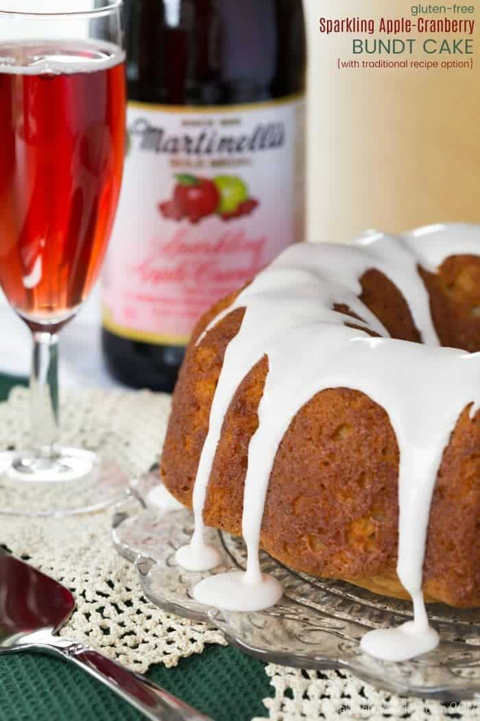 Gluten-Free Sparkling Apple-Cranberry Bundt Cake - an easy gluten-free pound cake recipe infused with @martinellisco Sparkling Apple-Cranberry in the pound cake recipe, glaze, and icing for an elegant holiday dessert. Don't need gluten free? There's also instructions with all-purpose flour. #AD #glutenfree #glutenfreecake #bundtcake #poundcake #sparklingcider