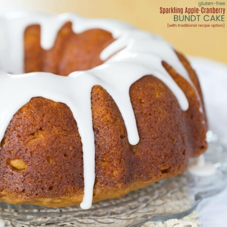 Gluten Free Sparkling Apple Cranberry Bundt Cake - gluten free pound recipe from Cupcakes and Kale Chips