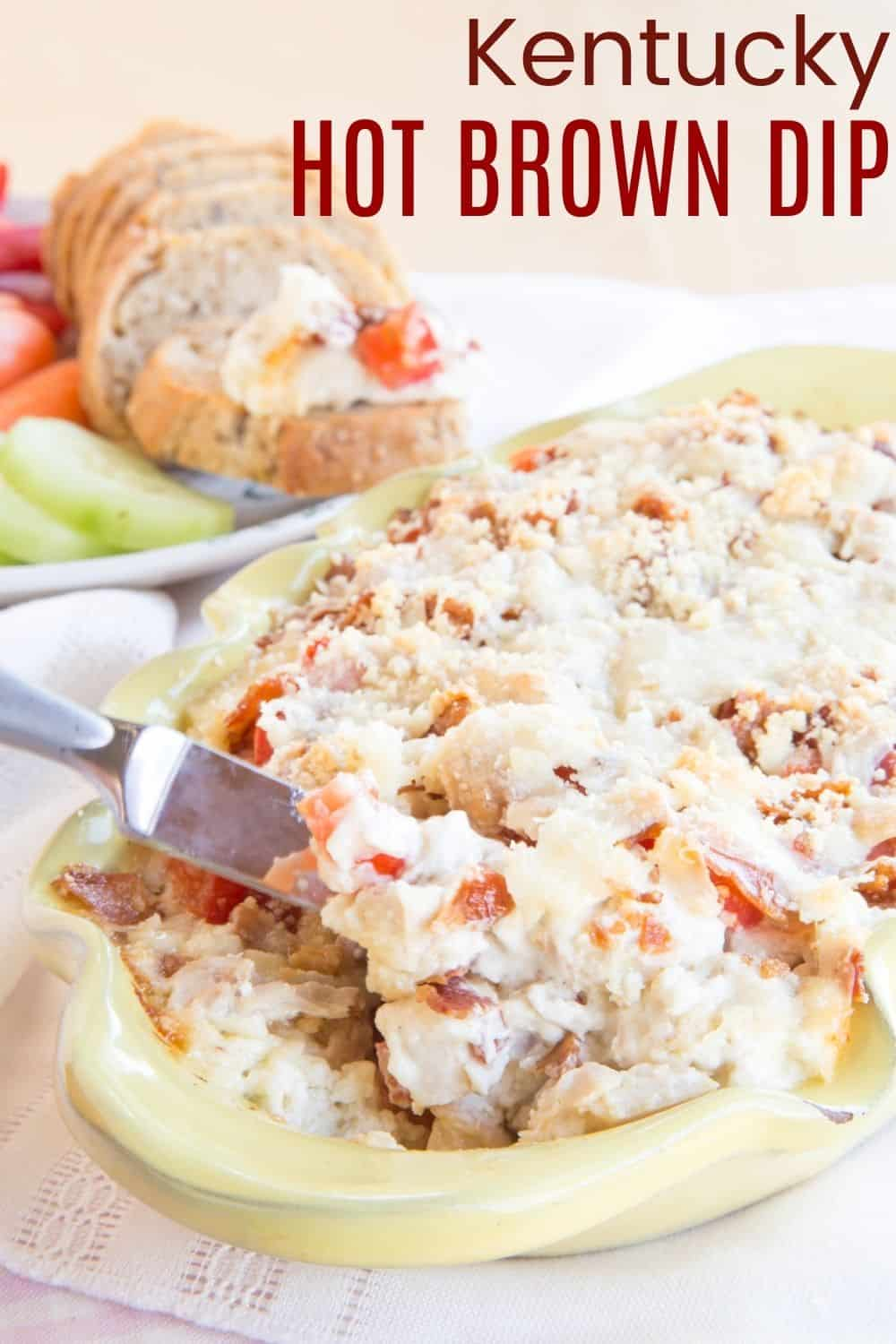 Kentucky Hot Brown Dip - an easy hot appetizer dip recipe based on the classic open-faced sandwich with turkey, bacon, and lots of cheese. Make this for a Kentucky Derby party, or any holiday celebration. It's also a great way to use up your leftover Christmas or Thanksgiving turkey. #cupcakesandkalechips #kentuckyhotbrown #hotbrown #derbyday #kentuckyderby #appetizer #hotdip #glutenfree #lowcarb #dip