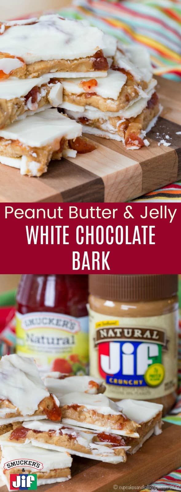 Peanut Butter and Jelly White Chocolate Bark - an easy holiday candy recipe stuffed with creamy Jif Peanut Butter filling and swirls of Smucker's Natural Strawberry Fruit Spread makes the perfect gift. Spread the #PBJLove this holiday season. #AD