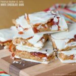 Peanut Butter and Jelly White Chocolate Bark - stuffed chocolate bark candy recipe for Christmas
