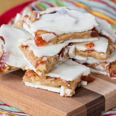 Peanut Butter and Jelly White Chocolate Bark