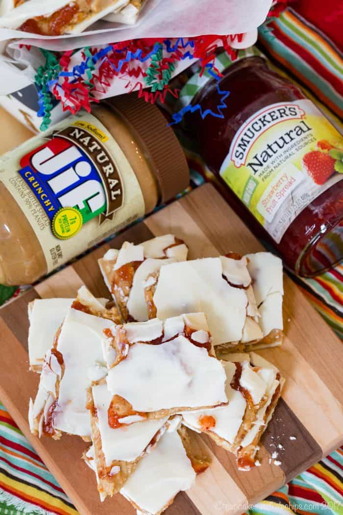 Jif Peanut Butter and Smucker's Jelly Stuffed White Chocolate Bark