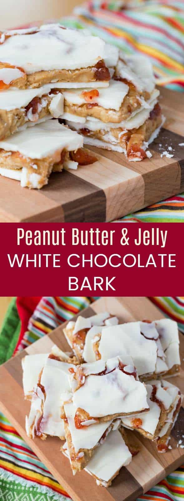 Peanut Butter and Jelly White Chocolate Bark - an easy holiday candy recipe stuffed with creamy peanut filling and swirls of strawberry jam makes the perfect gift. #AD #glutenfree #chocolatebark #peanutbutterandjelly