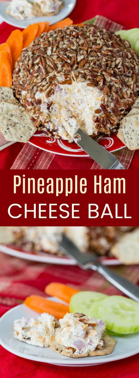 Pineapple Ham Cheese Ball - an easy party appetizer recipe for spreading on crackers or veggies. This sweet and savory, cheesy snack will be a holiday favorite. #AD #cheeseball #appetizer #glutenfree