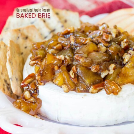 Caramelized Apple Pecan Baked Brie appetizer recipe