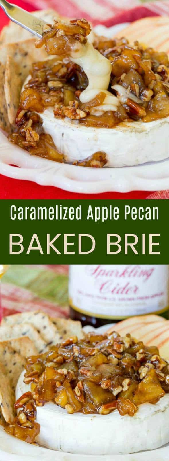 Caramelized Apple Pecan Baked Brie recipe is a quick and easy cheesy appetizer that makes a great addition to your party menu! Celebrate with @martinellisco! #AD #brie #cheese #bakedbrie #glutenfree #appetizerrecipe
