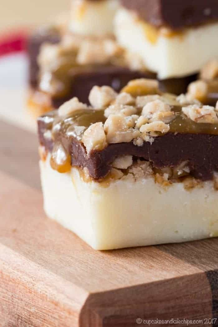 Easy Fudge Recipe with Toffee and Caramel - a six-ingredient microwave fudge recipe with layers of white and dark chocolate, gooey caramel, and bits of toffee. Add this simple candy recipe to your Christmas treats!