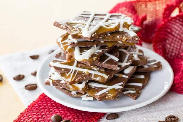 Salted Caramel Mocha Chocolate bark recipe from cupcakesandkalechips