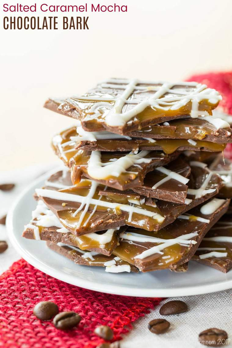 Salted Caramel Mocha Chocolate Bark - an easy candy recipe inspired by a Starbucks holiday favorite is perfect for chocolate and coffee lovers! Only five ingredients and you can make it for Christmas, Valentine's Day, or any time! #chocolate #saltedcaramelmocha #glutenfree #starbucks