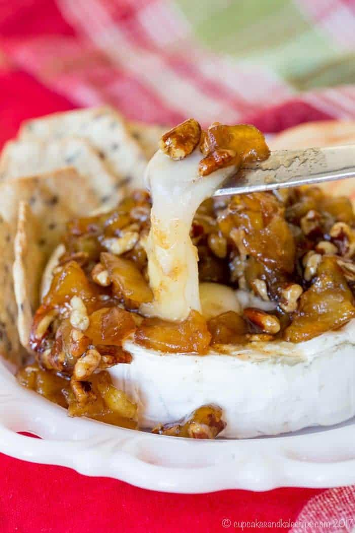 Baked Brie with Apple and Pecan - a quick and easy, cheesy appetizer for the holidays