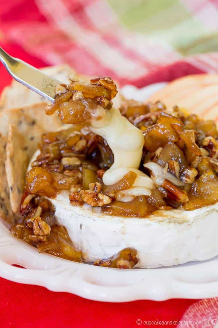 Caramelized Apple Pecan Baked Brie - Cupcakes & Kale Chips