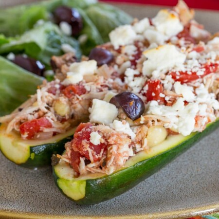 Baked Greek Chicken Stuffed Zucchini