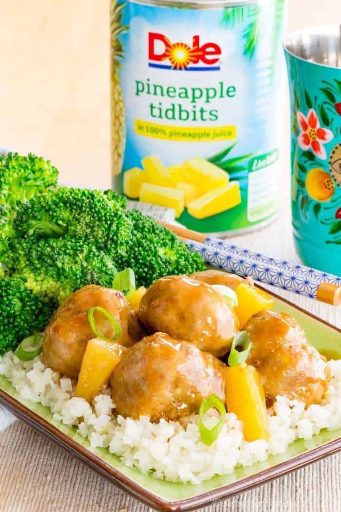 Baked Turkey Meatballs with Teriyaki Sauce and Dole Pineapple