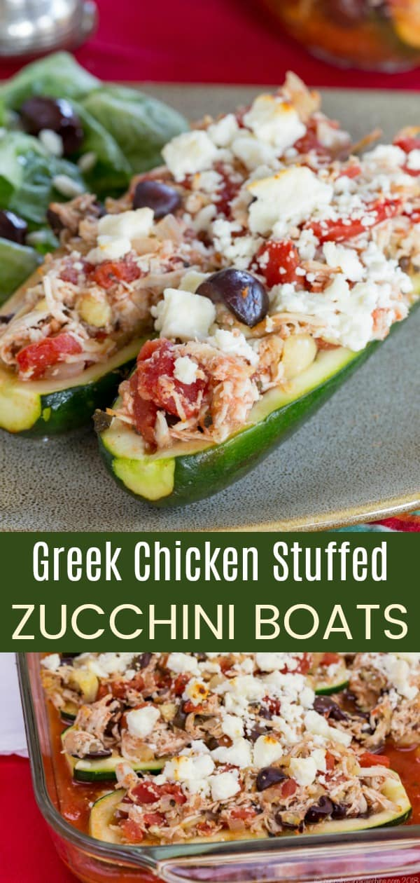 Greek Chicken Stuffed Zucchini Boats Pinterest Collage