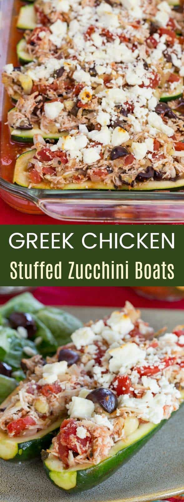 Greek Chicken Stuffed Zucchini Boats Recipes from cupcakesandkalechips