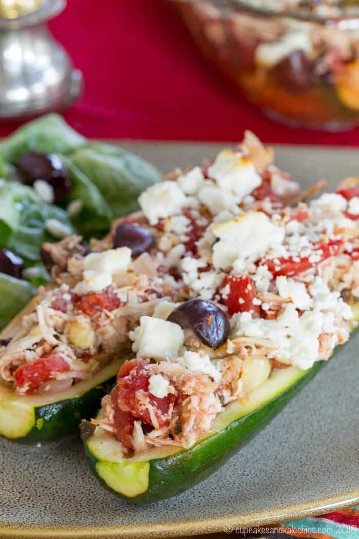 Low Carb Greek Chicken Stuffed Zucchini Boats