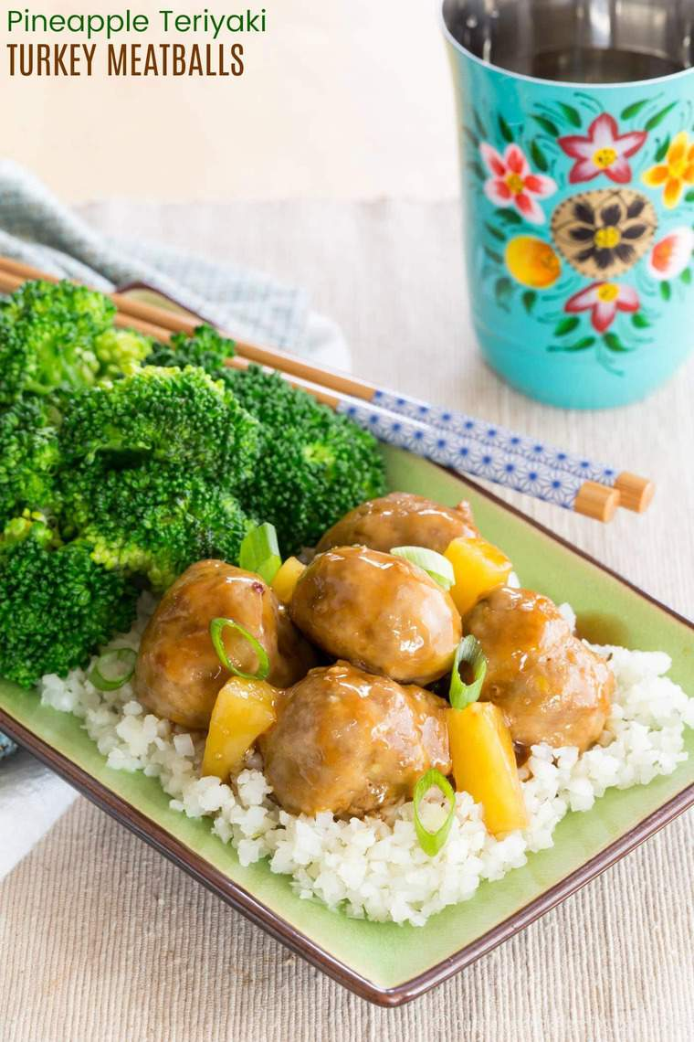 Pineapple Teriyaki Turkey Meatballs - perfect for party appetizers or a quick and easy dinner, this delicious meatball recipe made with ground turkey has sweet and savory Asian flavors you'll love. This healthy recipe also has meal prep lunch options to make it whole grain, gluten free, or paleo. #cupcakesandkalechips #meatballs #turkeymeatballs #groundturkey #glutenfree #mealprep #lunch #glutenfree #paleo #dairyfree #ad #healthyrecipe #pineapple