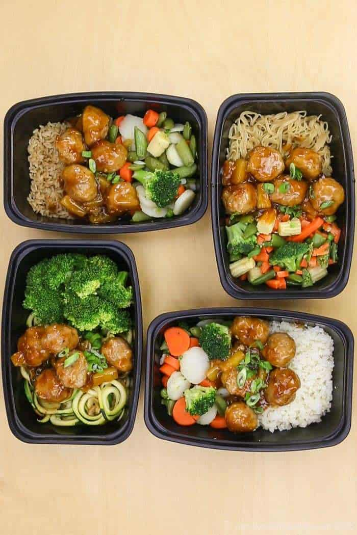 Meal Prep Turkey Meatballs with whole grain, gluten free, and, and paleo options