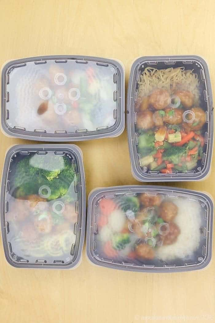 Meal Prep Teriyaki Turkey Meatballs in containers