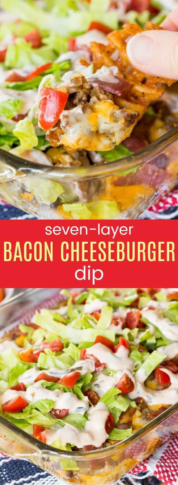 Seven-Layer Bacon Cheeseburger Dip recipe from cupcakesandkalechips.com