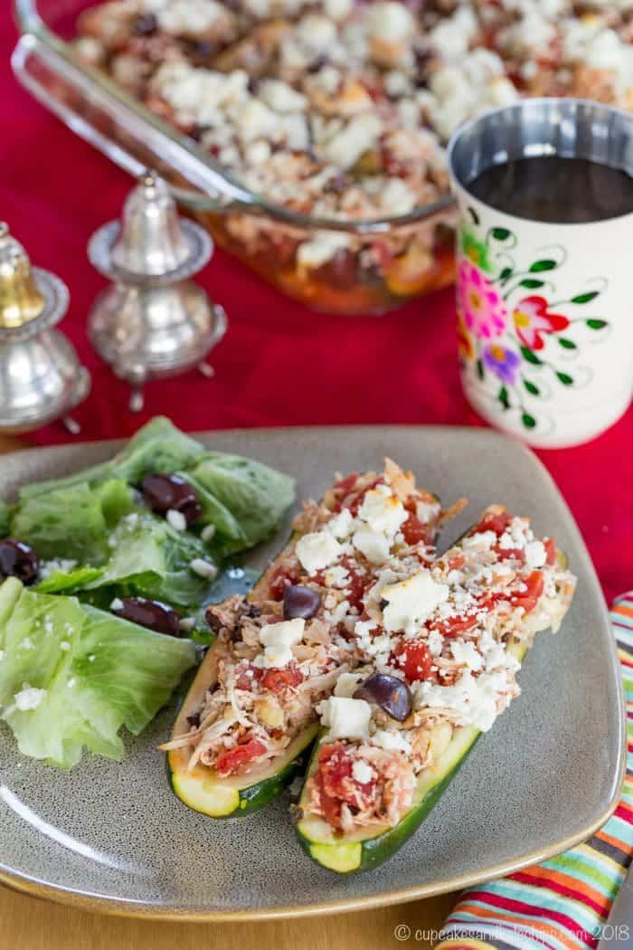 Greek Chicken Stuffed Zucchini Recipe