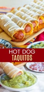 Cheesy Baked Hot Dog Taquitos Collage