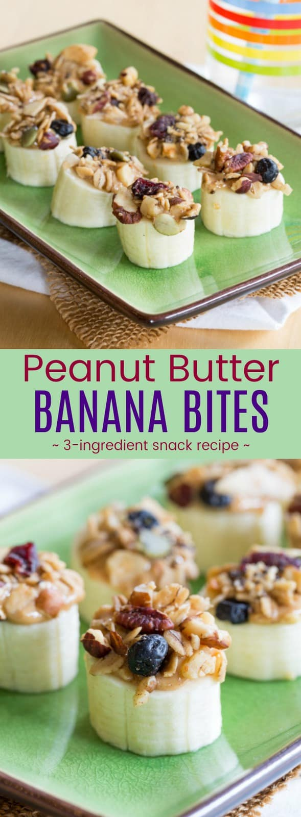 Peanut Butter Banana Bites - an easy three-ingredient snack recipe kids will love. Fast, healthy, super yummy, and easy to make gluten-free, vegan, and even nut-free depending on your choice of nut butter or sunflower seed butter and granola. #cupcakesandkalechips #snack #healthysnack #glutenfree #vegan #bananas #easyrecipe