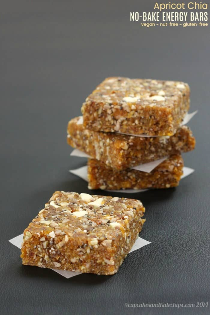 No-Bake Apricot Chia Energy Bars are a quick, easy, healthy snack that you can whip up in minutes with only six ingredients. Perfect for road trips and to pack in a camp or school lunch box since they are gluten free, nut free, dairy free, and vegan. #cupcakesandkalechips #energybars #nobakerecipe #glutenfree #dairyfree #vegan #nutfree #peanutfree #allergyfriendly #healthysnack