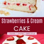 Strawberries and Cream Cake Pinterest Collage