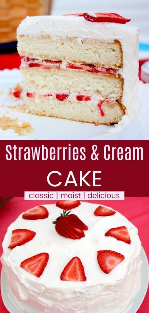 Strawberries and Cream Cake Pinterest Collage