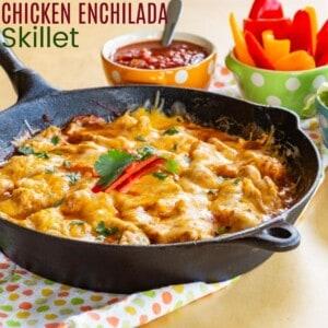 Cheesy Chicken Enchilada Skillet in a cast iron pan on a polka dot cloth napkin