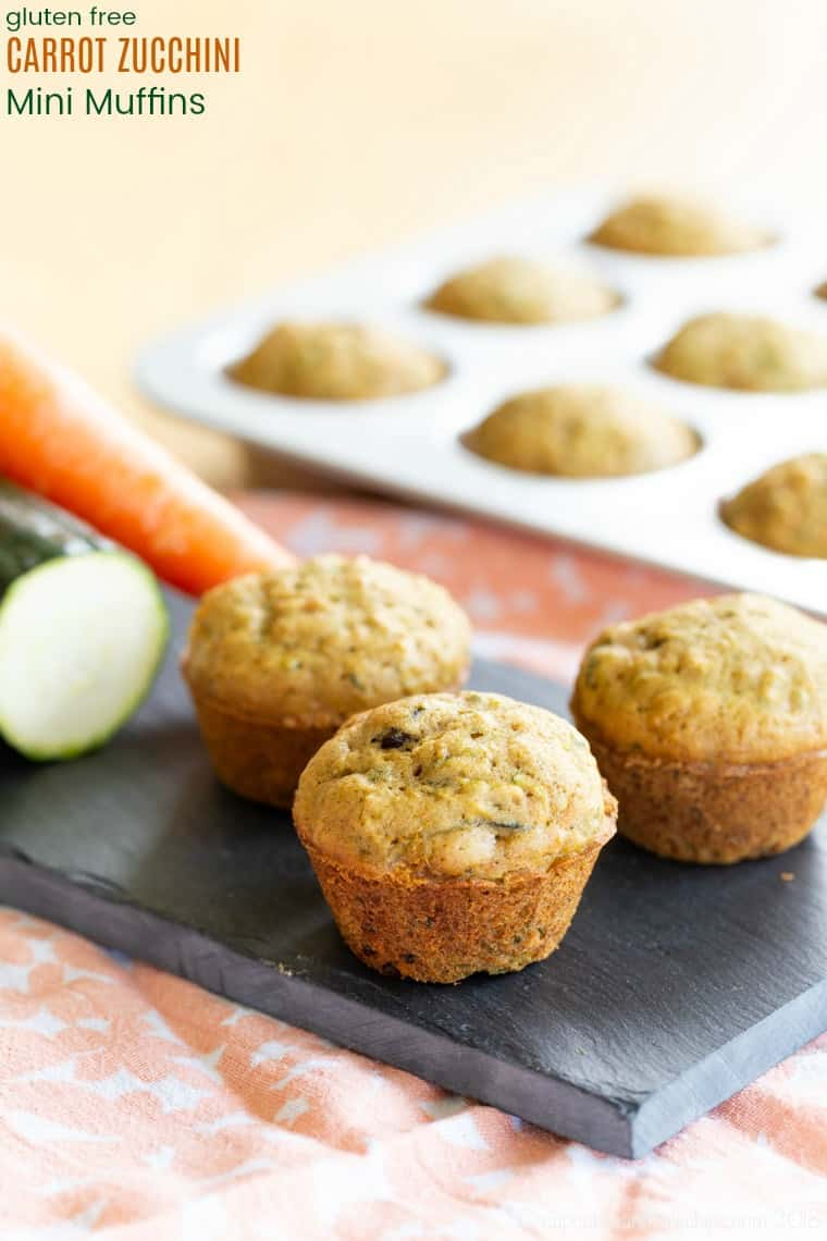 Gluten Free Carrot Zucchini Mini Muffins Recipe for a healthy breakfast or snack