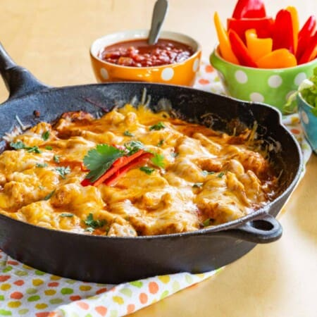 Serve Chicken Enchilada SKillet with your favorite low carb enchiladas toppings