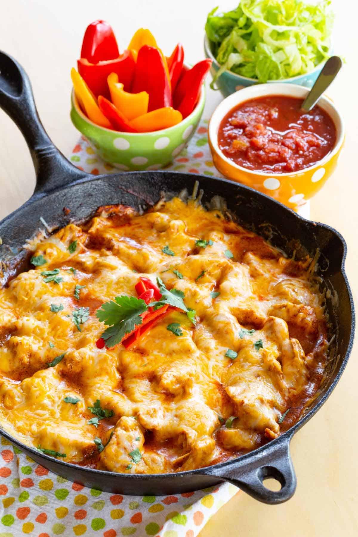 Easy Low Carb Chicken Enchilada Skillet Recipe