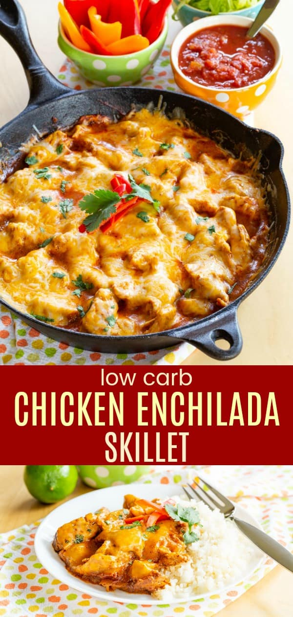 Cheesy Chicken Enchilada Skillet is the best part of chicken enchiladas in a one pan meal the whole family will love. With shredded chicken covered in spicy sauce and cheddar cheese, this low carb dinner recipe is ready in about 30 minutes. #skilletrecipes #lowcarbrecipes #keto #glutenfree