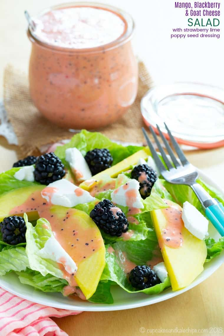 Mango Blackberry Goat Cheese Salad with Strawberry Lime Poppy Seed Dressing