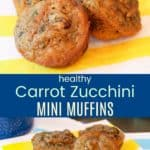 Healthy Carrot Zucchini Mini Muffins Pin Collage