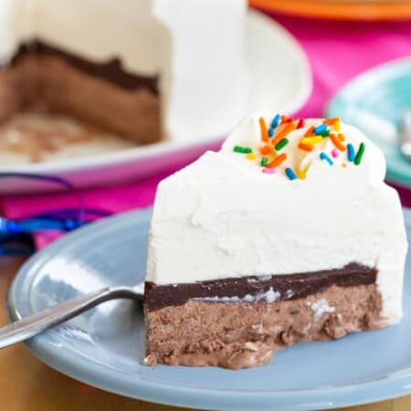 Homemade Ice Cream Cake on a blue plate with a fork