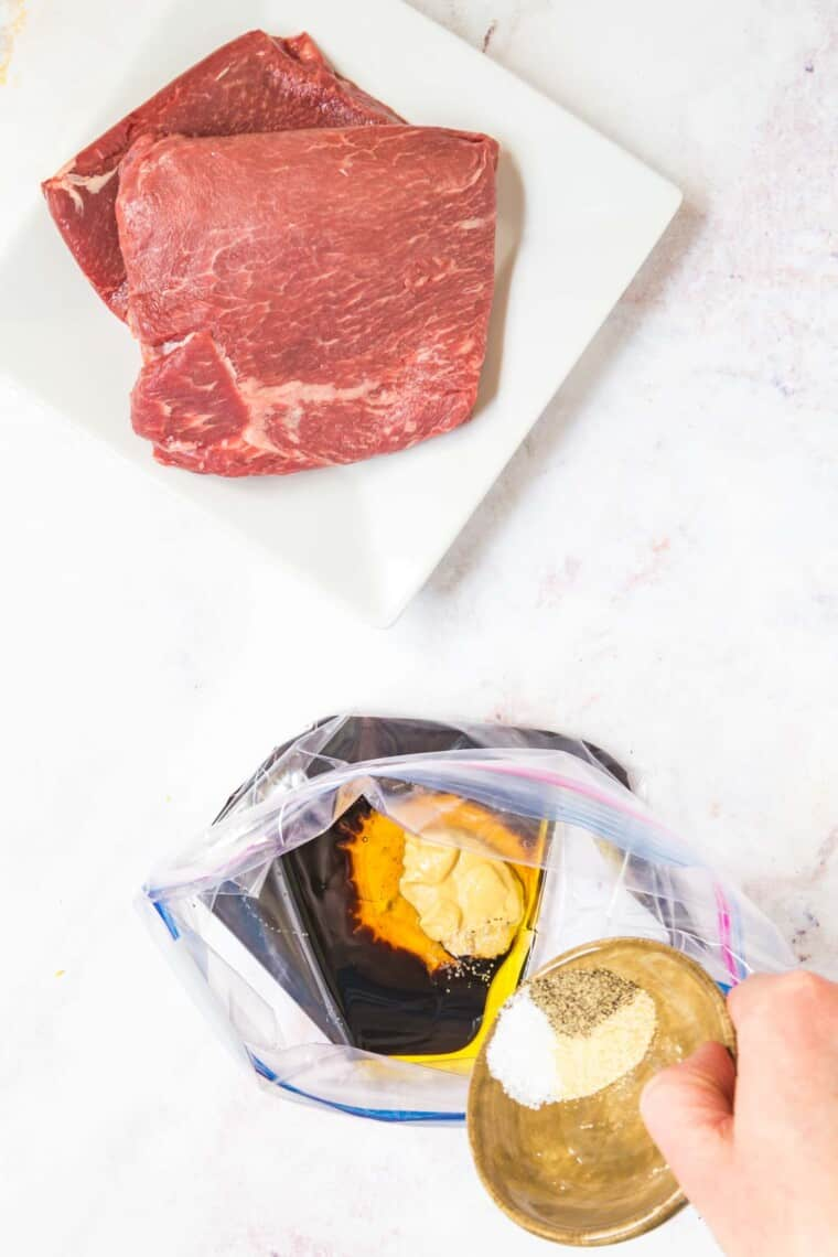 add the seasonings to the rest of the balsamic steak marinade ingredients in a plastic storage bag