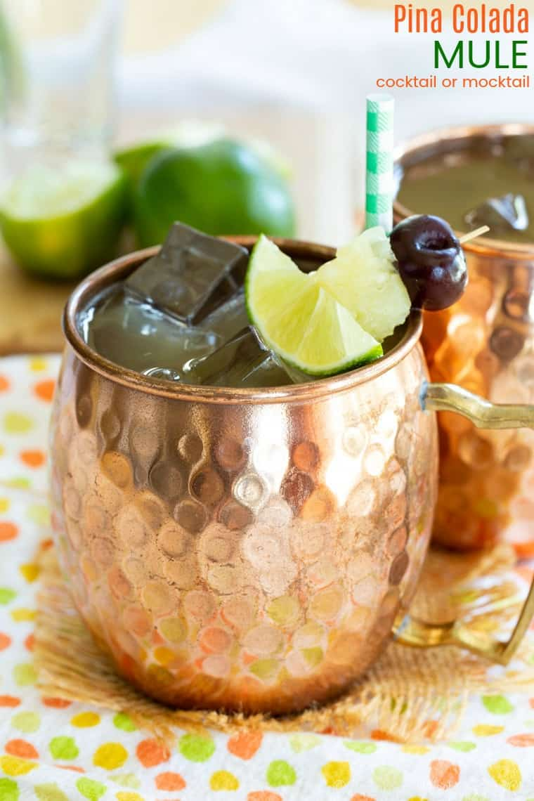 Pina Colada Mule Cocktail or Mocktail