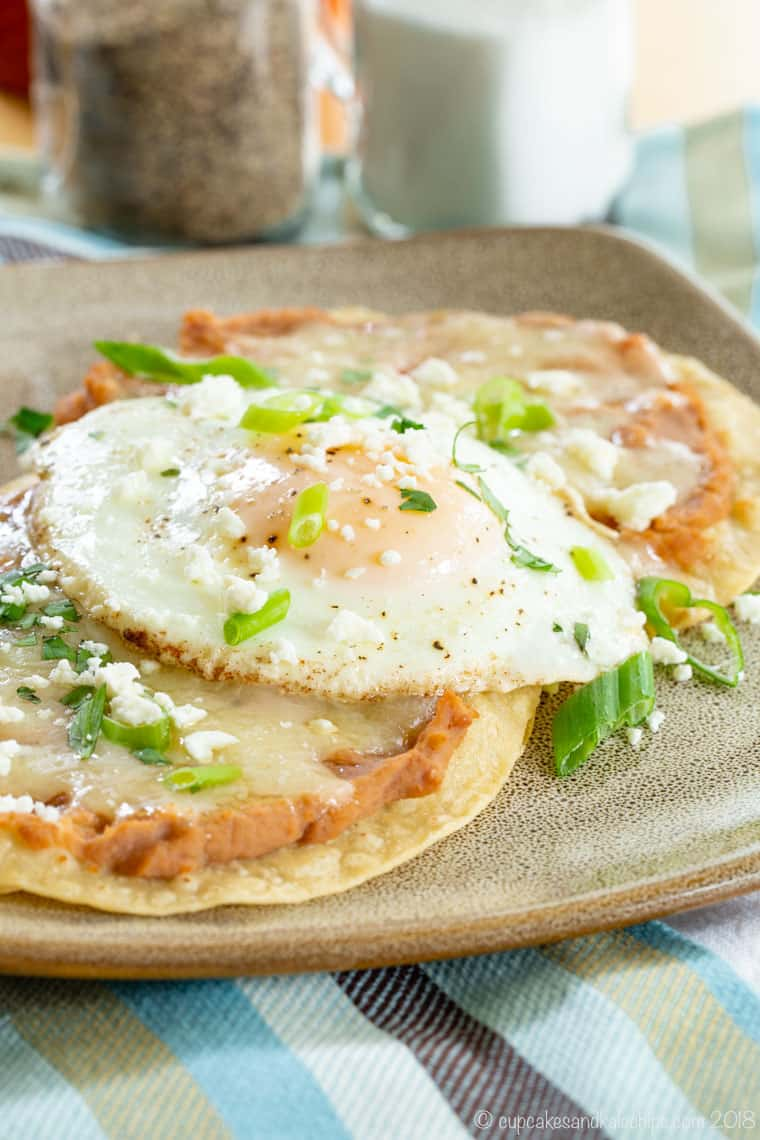 Breakfast Tostada with eggs and refried beans
